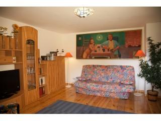 Wohnzimmer mit Klappcouch, Ferienhaus Fontane in Zechin /Friedrichsaue
