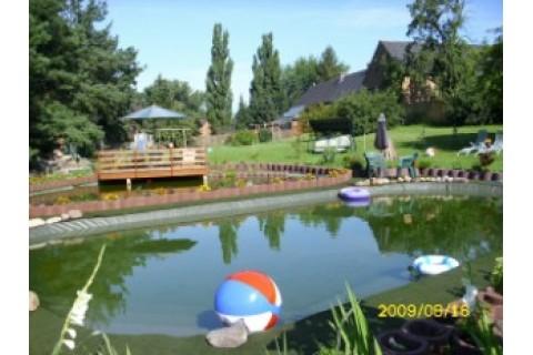 Im Vordergrund ist unser Schwimmteich, im Hintergrund unser Fischteich