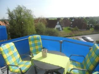 Barfußbalkon mit Aussicht, Ferienwohnung zentral, ruhig und romantisch in Dorum bei Cuxhaven