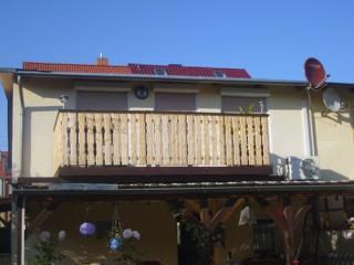 Blick von aussen auf den Balkon, Ferienwohnung Schütze in Thale