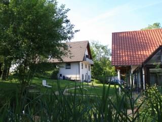 Gartenteich mit vorderem Garten, Gesundheitspark Kursanatorium Markgräflerland in Müllheim (Baden)